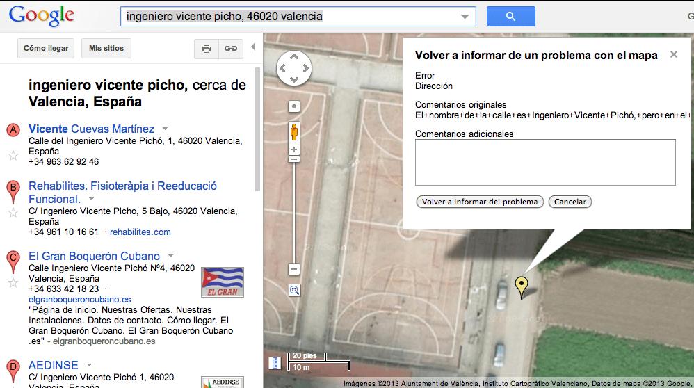 Informe errores google maps gersonbeltran