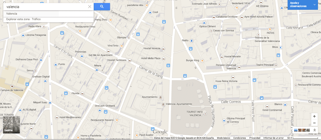 Resultados Google Maps Gersón Beltrán