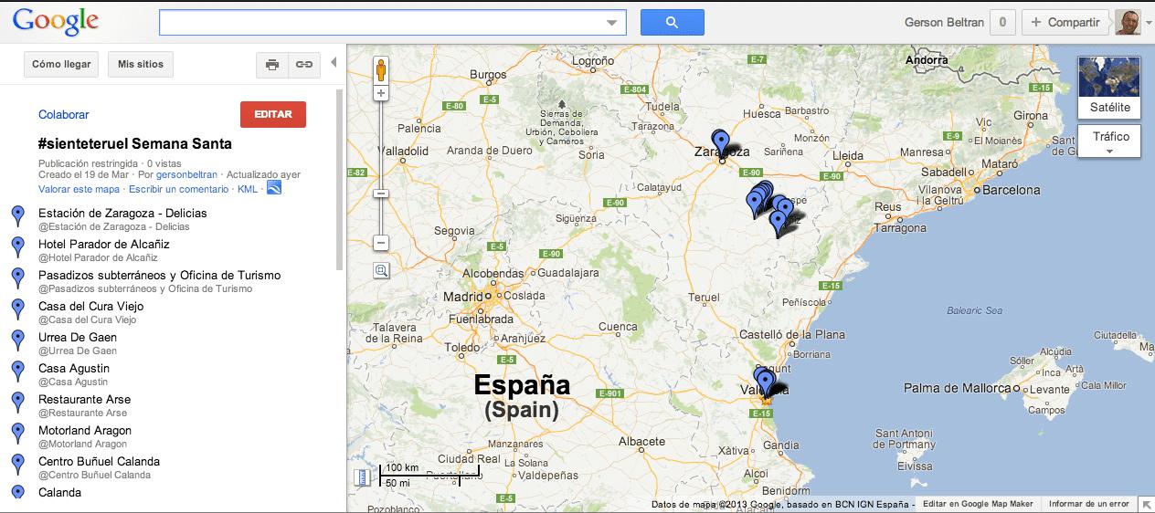 Como usar Foursquare como GPS para hacer un mapa en Google Maps 6