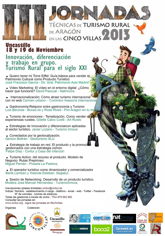 cartel programa jornadas cinco villas uncastillo conectados por la geolocalización
