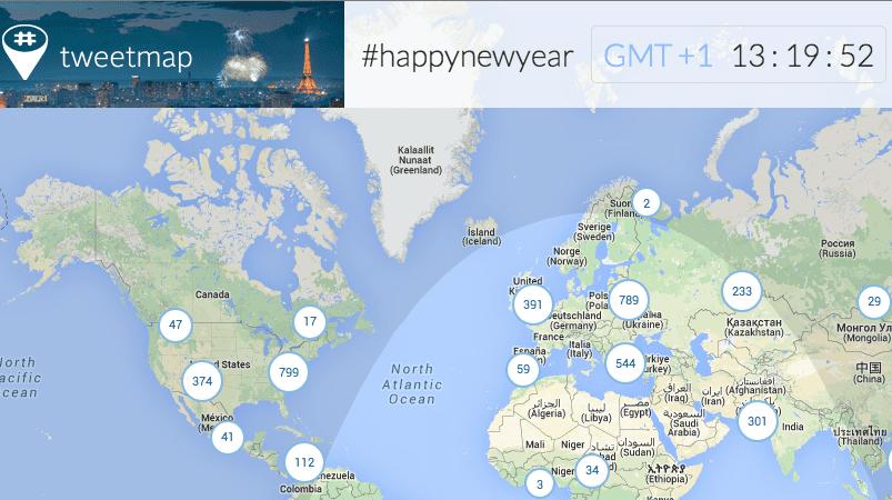 Feliz Año Nuevo 2014 el mapa