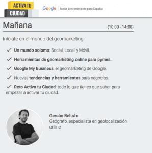 Activa tu ciudad con Google formación Gersón Beltrán