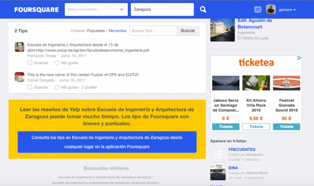 Guerra sucia en la geolocalización online Foursquare vs Yelp
