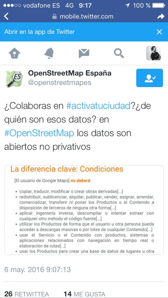 Guerra sucia en la geolocalización online Openstreetmap vs Google
