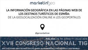 La información geográfica en las páginas web de los destinos turísticos de España